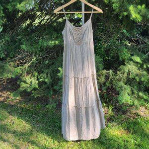 Mustard Seed Brown Beaded Tiered Tank Dress Size S